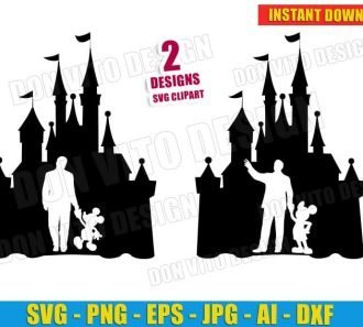 Walt Disney and Mickey Mouse (SVG dxf png) Castle Cut Files Image Vector Clipart - Don Vito Design Store