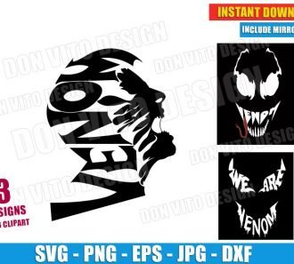 We are Venom Face Bundle (SVG dxf png) Marvel Comics Spiderman Superhero Movie Logo Cut File Silhouette Cricut Vector Clipart