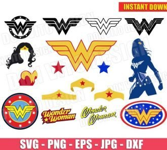 Wonder Woman Logo Bundle (SVG dxf png) Cut Files Image Vector Clipart - Don Vito Design Store