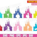 Disney Princess Castle Silhouette Bundle (SVG dxf png) Belle Cinderella Tinkerbell Frozen Rapunzel Cut Files Cricut Vector Clipart T-Shirt Design Girl