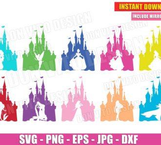 Disney Princess Castle Silhouette Bundle (SVG dxf png) Cut Files Image Vector Clipart - Don Vito Design Store