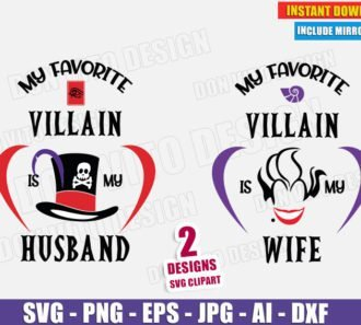 My Favorite Villain is my Wife Husband Ursula Facilier (SVG dxf PNG) Disney Movie Logo Couple Cut File Silhouette Cricut Vector Clipart T-Shirt 2 Designs - DonVitoDesign Store