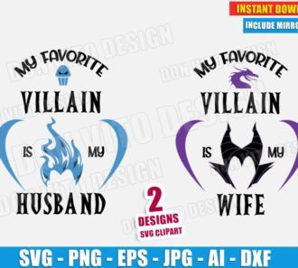 My Favorite Villain is my Wife Husband Maleficent Hades (SVG dxf PNG) Disney Movie Logo Head Cut File Silhouette Cricut Vector Clipart - DonVitoDesign Store