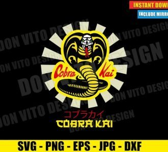 Cobra Kai Logo Japan Sunrays (SVG dxf PNG) Karate Kid Movie Dojo Japanese Letters Cut File Silhouette Cricut Vector Clipart - Don Vito Design Store