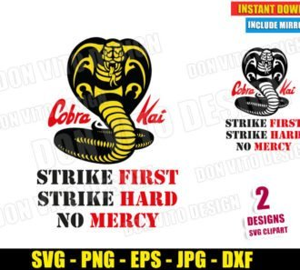 Cobra Kai Logo No Mercy (SVG dxf PNG) Karate Kid Movie Dojo Strike First Hard Cut File Silhouette Cricut Vector Clipart - Don Vito Design Store