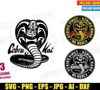 Cobra Kai Logo Bundle (SVG dxf PNG) Karate Kid Movie Dojo Strike First Hard No Mercy Cut File Silhouette Cricut Vector Clipart - Don Vito Design Store