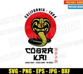 Cobra Kai Logo California 1984 (SVG dxf PNG) Karate Kid Movie Dojo Red Sun Cut File Silhouette Cricut Vector Clipart - Don Vito Design Store