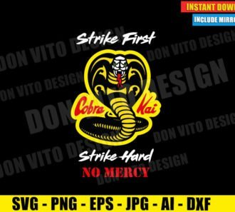Cobra Kai White Face Strike First Hard No Mercy (SVG dxf PNG) Karate Kid Movie Dojo Logo Cut File Silhouette Cricut Vector Clipart - Don Vito Design Store