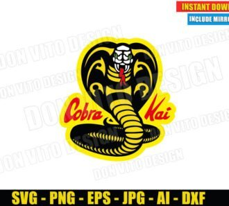 Cobra Kai Logo White Face (SVG dxf PNG) Karate Kid Movie Dojo Johnny Lawrence Cut File Silhouette Cricut Vector Clipart - Don Vito Design Store