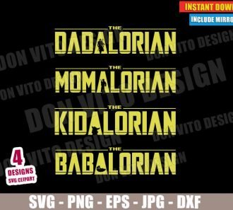 The Mandalorian Family (SVG dxf PNG) Star Wars Dad Mom Kid Baby Yoda Cut File Silhouette Cricut Vector Clipart - Don Vito Design Store