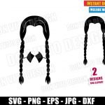 Wednesday Black Hair Braids (SVG dxf PNG) Halloween The Addams Family Cut File Silhouette Cricut Vector Clipart T-Shirt 2 Designs DIY