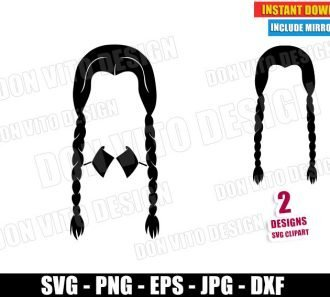 Wednesday Black Hair Braids (SVG dxf PNG) Halloween The Addams Family Cut File Silhouette Cricut Vector Clipart - Don Vito Design Store