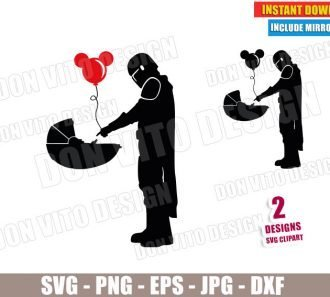 Mando and Baby Yoda Mickey Balloon (SVG dxf PNG) Star Wars The Mandalorian Cut File Silhouette Cricut Vector Clipart - Don Vito Design Store