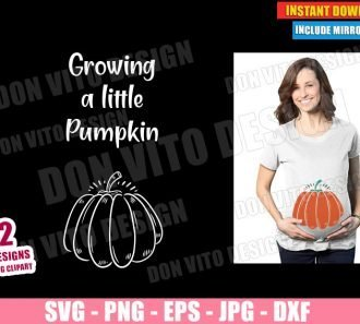 Growing a Little Pumpkin Maternity (SVG dxf PNG) Halloween Fall Pregnancy Cut File Silhouette Cricut Vector Clipart - Don Vito Design Store