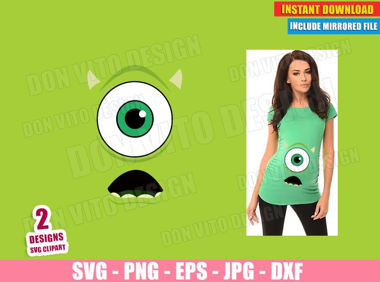 Monsters Inc Eye Maternity Costume (SVG dxf PNG) Halloween Pregnant Baby Mike Cut File Silhouette Cricut Vector Clipart - Don Vito Design Store