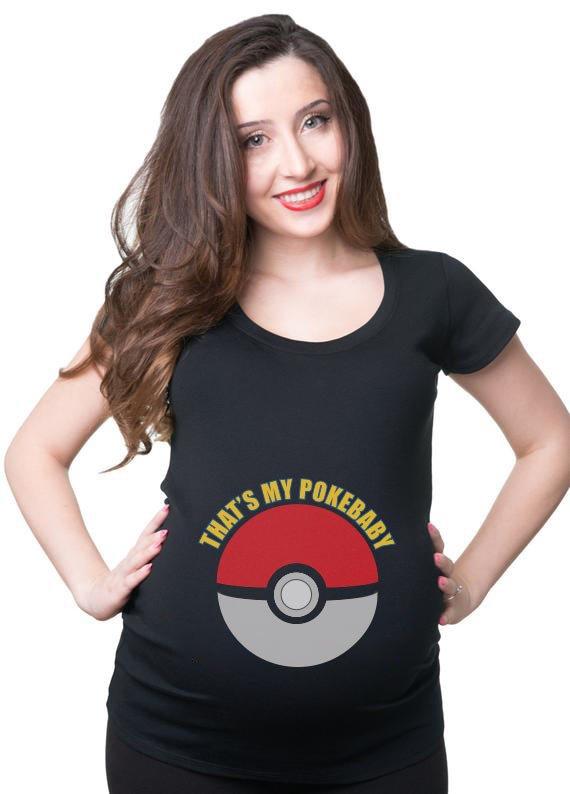 T-Shirt Example - Pokeball Maternity Costume (SVG dxf PNG) Pokemon Pregnant Baby Cut File Silhouette Cricut Vector Clipart - Don Vito Design Store