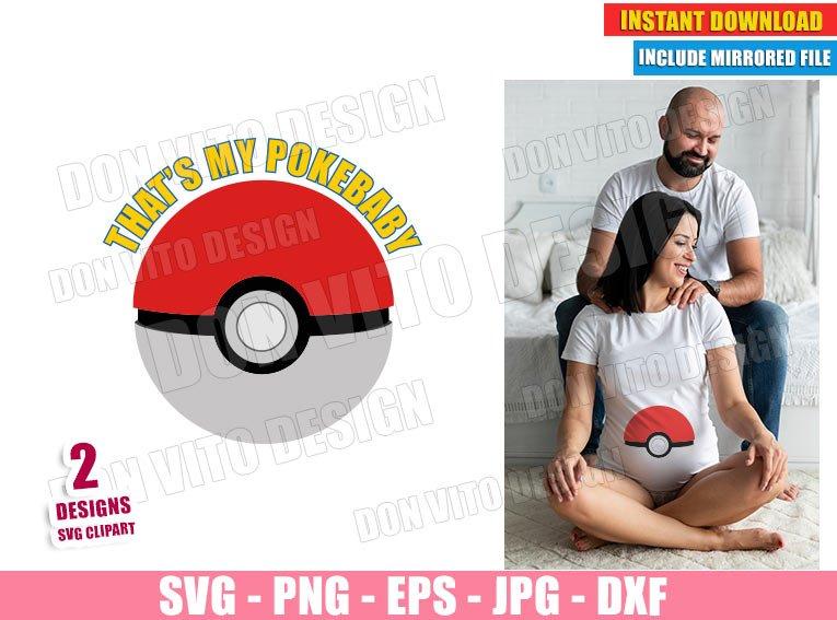 Pokeball Maternity Costume (SVG dxf PNG) Pokemon Pregnant Baby Cut File Silhouette Cricut Vector Clipart - Don Vito Design Store