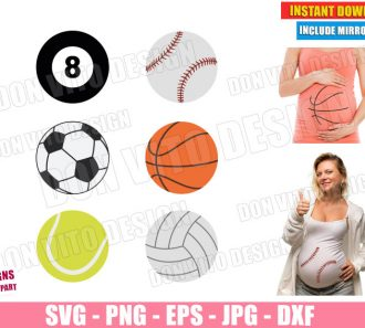 Halloween Maternity Costume Sport Balls (SVG dxf PNG) Pregnant Mom Baby Cut File Silhouette Cricut Vector Clipart - Don Vito Design Store