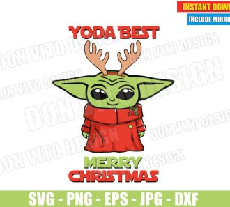 Baby Yoda Best Merry Christmas (SVG dxf PNG) Star Wars The Mandalorian Cut File Silhouette Cricut Vector Clipart - Don Vito Design Store