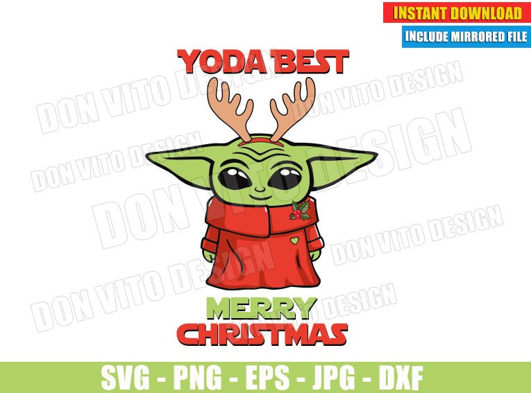 Baby Yoda Best Merry Christmas Svg Png Star Wars The Mandalorian