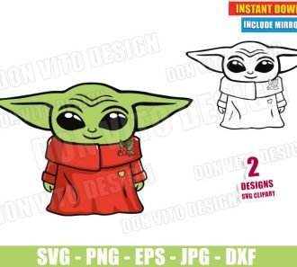 Baby Yoda Christmas (SVG dxf PNG) Star Wars The Mandalorian Outline Cut File Silhouette Cricut Vector Clipart - Don Vito Design Store