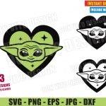 Baby Yoda Head Love Heart (SVG dxf PNG) Star Wars The Mandalorian Bundle Cut File Silhouette Cricut Vector Clipart T-Shirt 3 Designs DIY