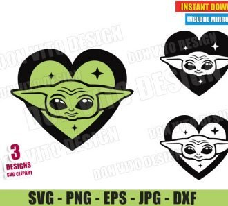 Baby Yoda Head Love Heart (SVG dxf PNG) Star Wars The Mandalorian Bundle Cut File Silhouette Cricut Vector Clipart - Don Vito Design Store