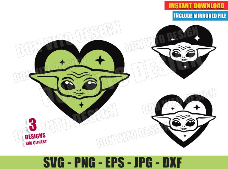 Baby Yoda Head Love Heart (SVG dxf PNG) Star Wars The Mandalorian Bundle Cut File Silhouette Cricut Vector Clipart - Don Vito Design Store
