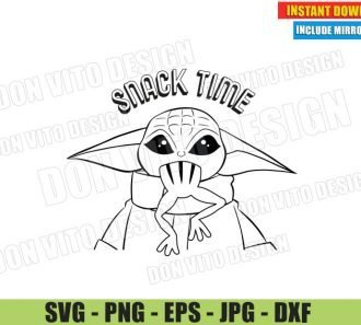 Baby Yoda Snack Time (SVG dxf PNG) Star Wars The Mandalorian Outline Cut File Silhouette Cricut Vector Clipart - Don Vito Design Store