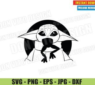 Baby Yoda Eat a Frog (SVG dxf PNG) Star Wars The Mandalorian Snack Time Cut File Silhouette Cricut Vector Clipart - Don Vito Design Store