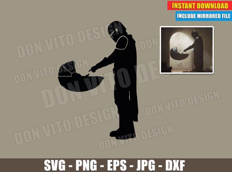Mando and Baby Yoda Meet (SVG dxf PNG) Star Wars The Mandalorian Logo Cut File Silhouette Cricut Vector Clipart - Don Vito Design Store