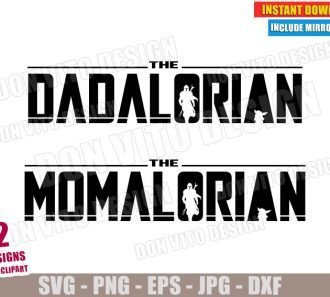 The Dadalorian and The Momalorian (SVG dxf PNG) Star Wars Mandalorian Cut File Silhouette Cricut Vector Clipart - Don Vito Design Store