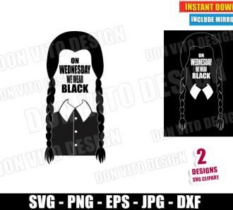 On Wednesday We Wear Black (SVG dxf PNG) Halloween The Addams Family Hair Cut File Silhouette Cricut Vector Clipart - Don Vito Design Store