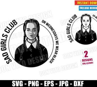 Sad Girls Club Wednesday Logo (SVG dxf PNG) Halloween The Addams Family Cut File Silhouette Cricut Vector Clipart - Don Vito Design Store