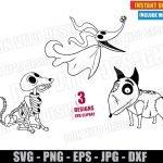 Halloween Dogs Zero Sparky Scraps (SVG dxf PNG) Disney Movie Dog Lovers Cut File Silhouette Cricut Vector Clipart T-Shirt 3 Designs DIY