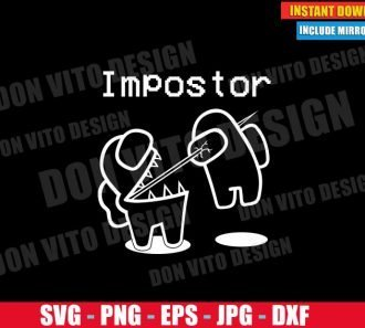 Impostor Kills Crewmate Outline (SVG dxf PNG) Game Among Us Logo Cut File Silhouette Cricut Vector Clipart - Don Vito Design Store