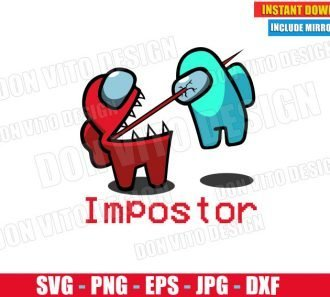 Impostor Kills Crewmate (SVG dxf PNG) Game Among Us Red Logo Cut File Silhouette Cricut Vector Clipart - Don Vito Design Store