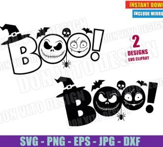 Boo Jack Skellington Sally Head (SVG dxf PNG) Nightmare Before Christmas Cut File Silhouette Cricut Vector Clipart - Don Vito Design Store