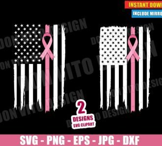 USA Grunge Flag Pink Ribbon Breast Cancer (SVG dxf PNG) Survivor Awareness Cut File Silhouette Cricut Vector Clipart - Don Vito Design Store