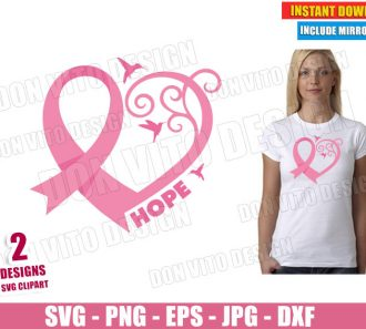 Heart Ribbon Birds Breast Cancer (SVG dxf PNG) Hope Survivor Awareness Pink Cut File Silhouette Cricut Vector Clipart - Don Vito Design Store