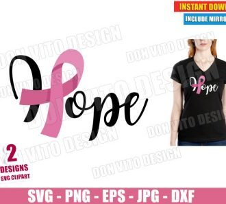 Hope Breast Cancer (SVG dxf PNG) Survivor Awareness Ribbon Pink Cut File Silhouette Cricut Vector Clipart - Don Vito Design Store