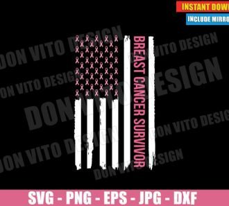 Breast Cancer Survivor USA Flag Pink Ribbon (SVG dxf PNG) Patriotic Awareness Cut File Silhouette Cricut Vector Clipart - Don Vito Design Store