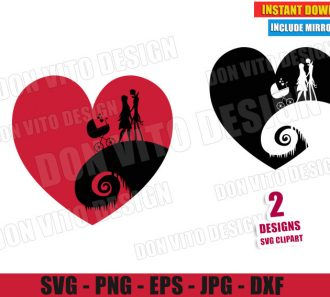 Jack Sally and Baby Stroller (SVG dxf PNG) Nightmare Before Christmas Cut File Silhouette Cricut Vector Clipart - Don Vito Design Store