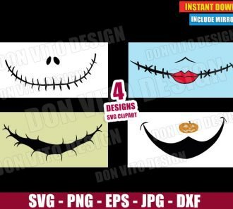 Jack Sally Oogie Boogie Zero Smile (SVG dxf PNG) Halloween Nightmare Before Christmas Mask Cut File Silhouette Cricut Vector Clipart - Don Vito Design Store
