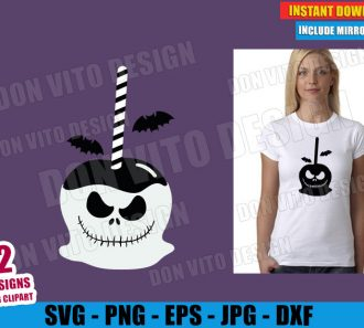 Jack Skellington Candy Apple (SVG dxf PNG) Nightmare Before Christmas Cut File Silhouette Cricut Vector Clipart - Don Vito Design Store
