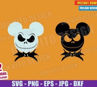 Jack Skellington Mickey Ears Bat Bow Tie (SVG dxf PNG) Nightmare Before Christmas Cut File Silhouette Cricut Vector Clipart - Don Vito Design Store