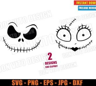 Jack Skellington and Sally Face (SVG dxf PNG) Halloween The Nightmare Before Christmas Logo Cut File Silhouette Cricut Vector Clipart - Don Vito Design Store