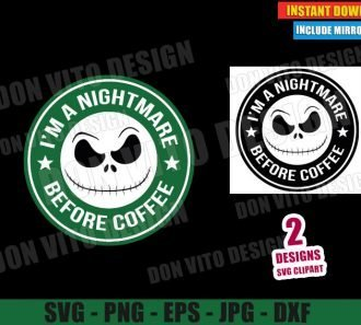 Jack Skellington Starbucks Logo (SVG dxf PNG) I am a Nightmare Before Coffee Cut File Silhouette Cricut Vector Clipart - Don Vito Design Store