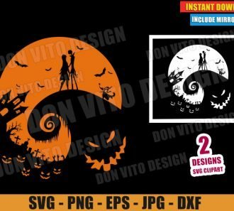 Jack and Sally Love Boogieman (SVG dxf PNG) Nightmare Before Christmas Cut File Silhouette Cricut Vector Clipart - Don Vito Design Store