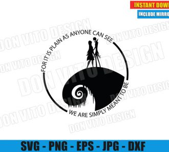Jack and Sally We are Simply Meant to be (SVG dxf PNG) Halloween Love Quote Cut File Silhouette Cricut Vector Clipart - Don Vito Design Store
